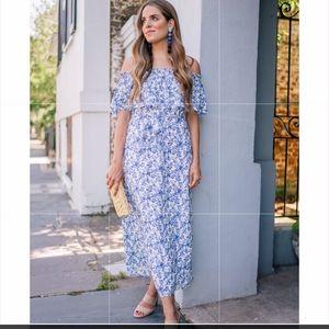 Rebecca Talyor Aimee Blue Off The Shoulder Dress